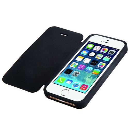 Imagem de Capa para iPhone 5 e 5S de Silicone com Flip - Preta