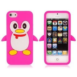 Capa para iPhone 5 e 5S de Silicone Pinguim - Rosa