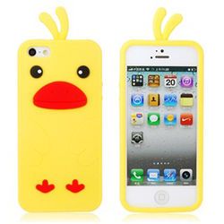 Capa para iPhone 5 e 5S de Silicone Pintinho - Amarelo