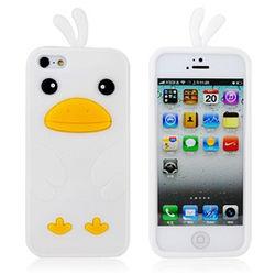 Capa para iPhone 5 e 5S de Silicone Pintinho - Branco