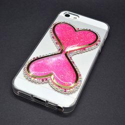 Capa para iPhone 5 e 5S de TPU - Ampulheta com Strass | Rosa Fluorescente
