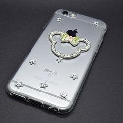 Capa para iPhone 5 e 5S de TPU com Strass - Minnie   Lacinho Verde