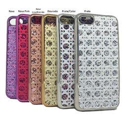 Capa para iPhone 5 e 5S de TPU - Tecido com Brilho