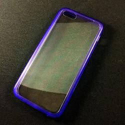 Capa para iPhone 5C de Acrílico com Traseira Transparente - Lateral Roxa