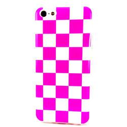 Capa para iPhone 5C de TPU Xadrez - Rosa