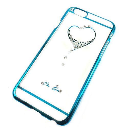 Imagem de Capa para iPhone 6 de Acrílico com traseira Transparente - Coração com Strass   Azul