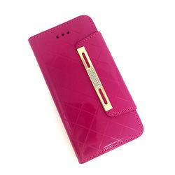 Capa Para IPhone 6 e 6S De Couro Sintético Estilo Carteira - Rosa Com Strass