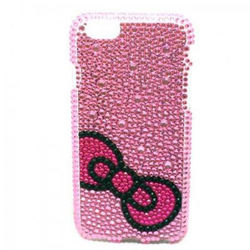 Capa para iPhone 6 e 6S de TPU com Strass - Lacinho Rosa