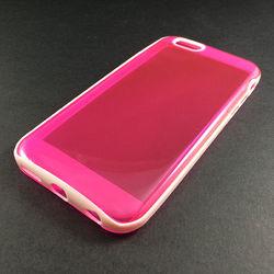 Capa para iPhone 6 e 6S de TPU Dual Color - Rosa com Branco