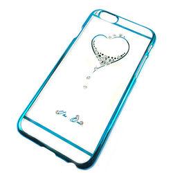 Capa para iPhone 6 Plus de Acrílico com traseira Transparente - Coração com Strass | Azul