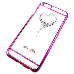 Capa para iPhone 6 Plus de Acrílico com traseira Transparente - Coração com Strass | Rosa