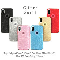 Capa para iPhone 6 Plus e 6S Plus de Plástico com Glitter