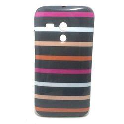 Capa para Motorola Moto G de TPU - Listras Coloridas