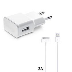 Carregador de Parede e Cabo de Dados USB para iPhone 4 e 4S iPad 2/3/4 de 2A - Branco | KinGo