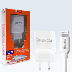 Carregador de Tomada com 2 Entradas USB e cabo de dados lightning - Hrebos | Branco