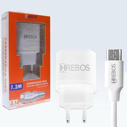 Carregador de Tomada com 2 Entradas USB e cabo de dados Tipo C - Hrebos | Branco