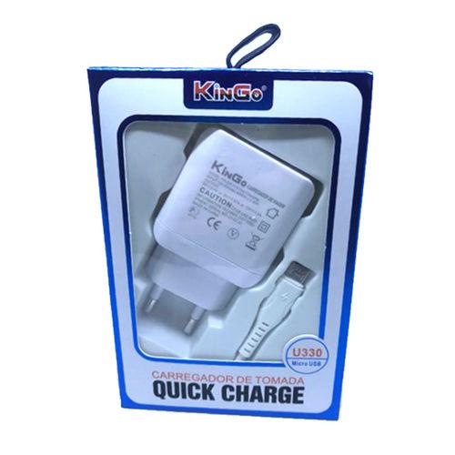 Imagem de Carregador Turbo com Cabo de Dados Micro USB  - Kingo | Branco