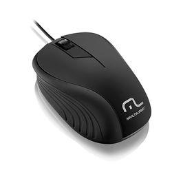 Mouse Óptico com fio Emborrachado 1200dpi USB - Multilaser | Preto