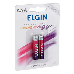 Pilha Recarregável  AAA ELGIN | Conjunto Com 2 Unidades.