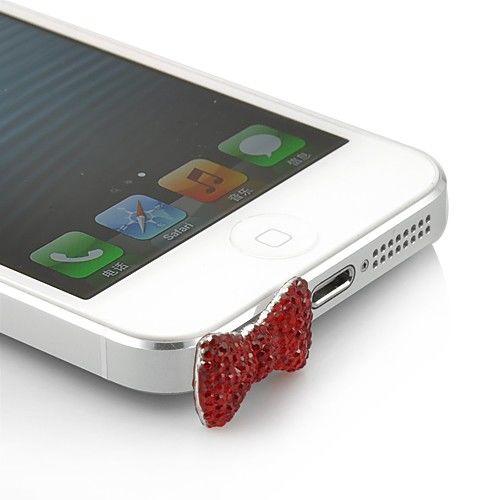 Imagem de Plug Pingente Lacinho para Proteção Contra Poeira 3,5mm - Vermelho