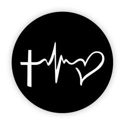 Pop Socket - Cruz e Coração | Preto