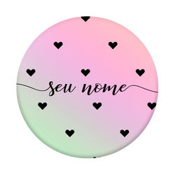 Pop Socket Holográfico - Black Hearts | Com Nome Manuscrito
